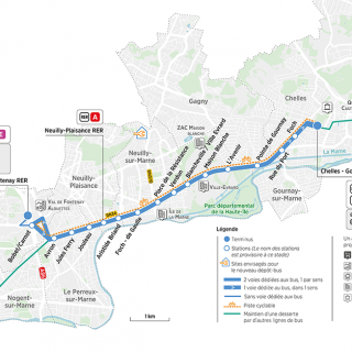 Carte du projet Bus Bords de Marne